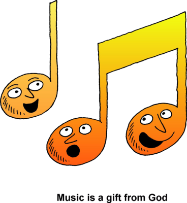 Music note clipart singing. Notes god
