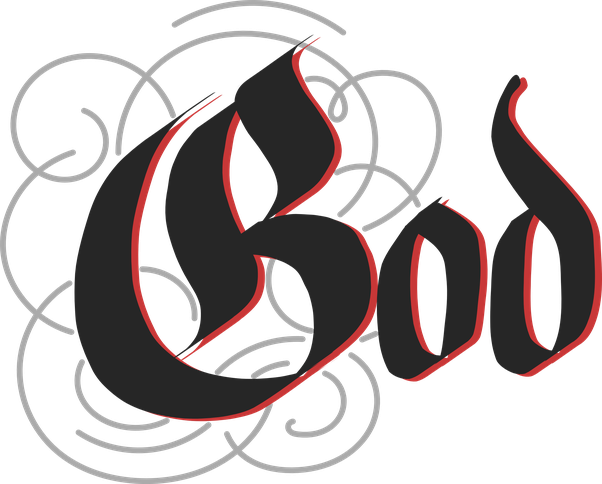 Transparent god typography. What calligraphic old english