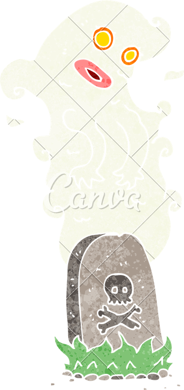 Transparent grave carton. Cartoon ghost rising from