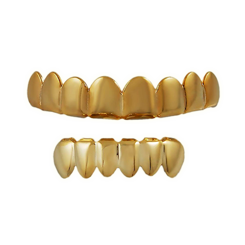 Transparent grill mouth. Jewellery gold teeth tooth