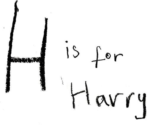 Transparent h calligraphy. Is for harry