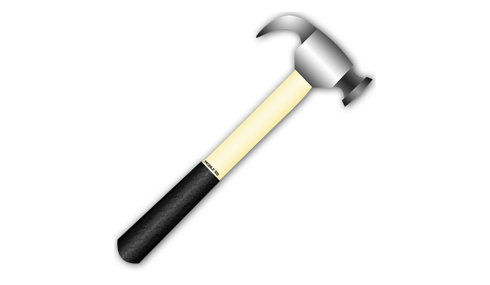Transparent hammer carpenter. Collection of free hammered