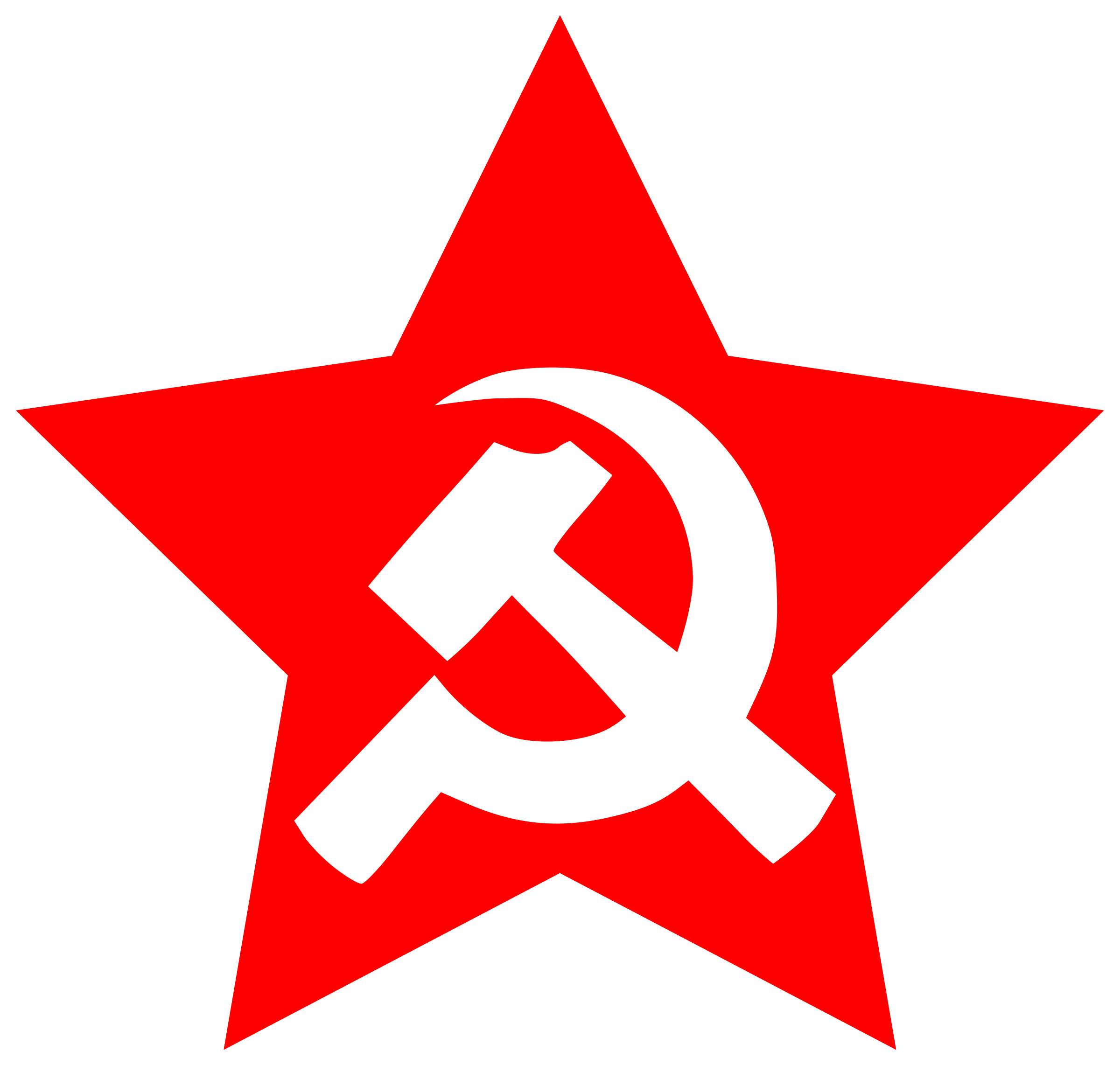 Transparent hammer sickle. Clipart and in star