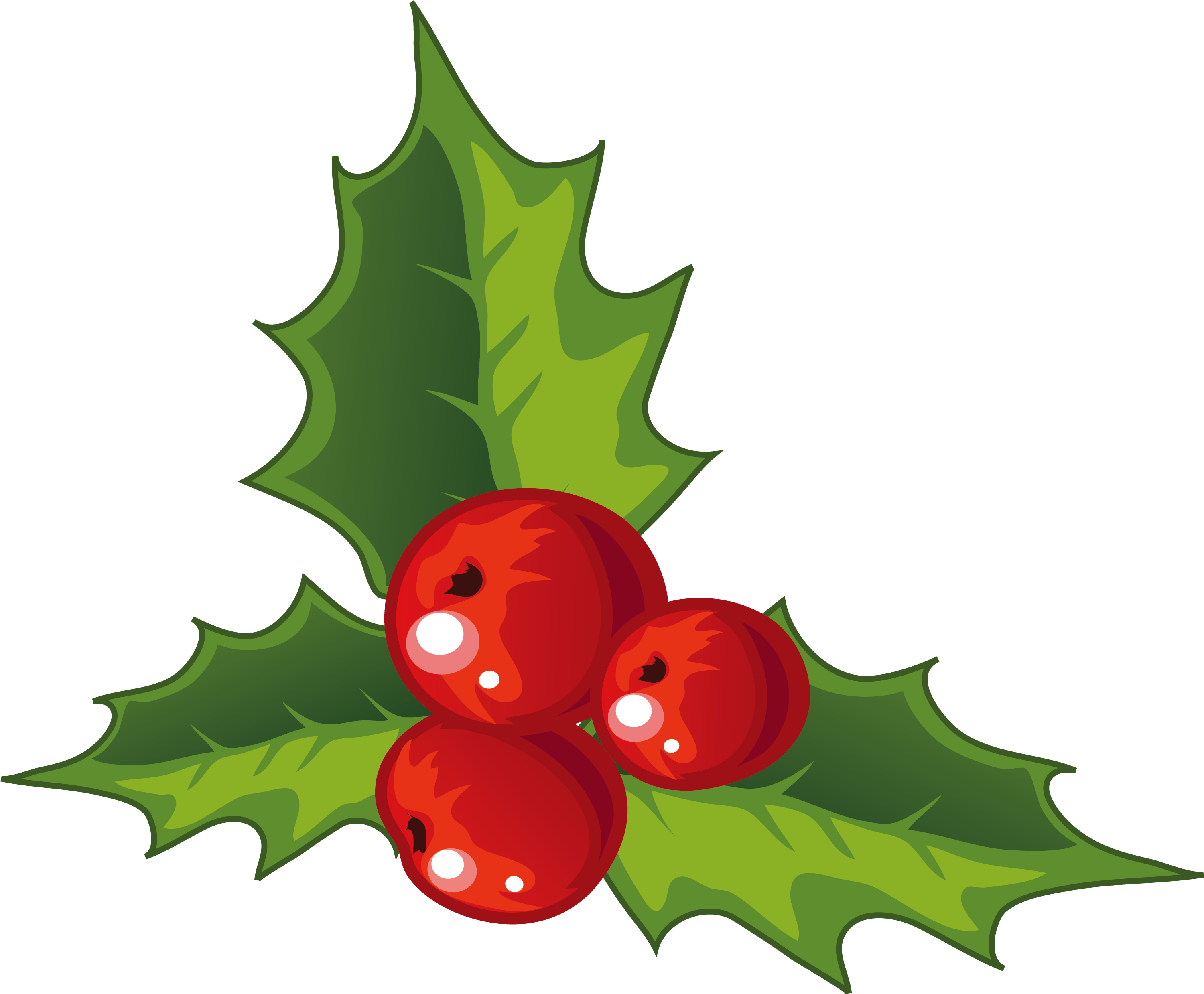 Transparent holly decoration. Christmas decorations for