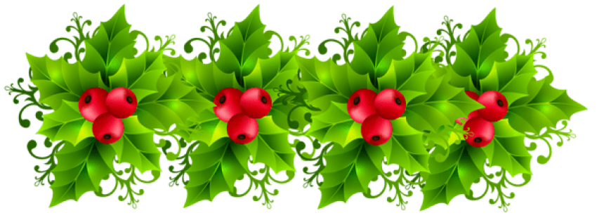 Transparent holly green. Christmas garland png free