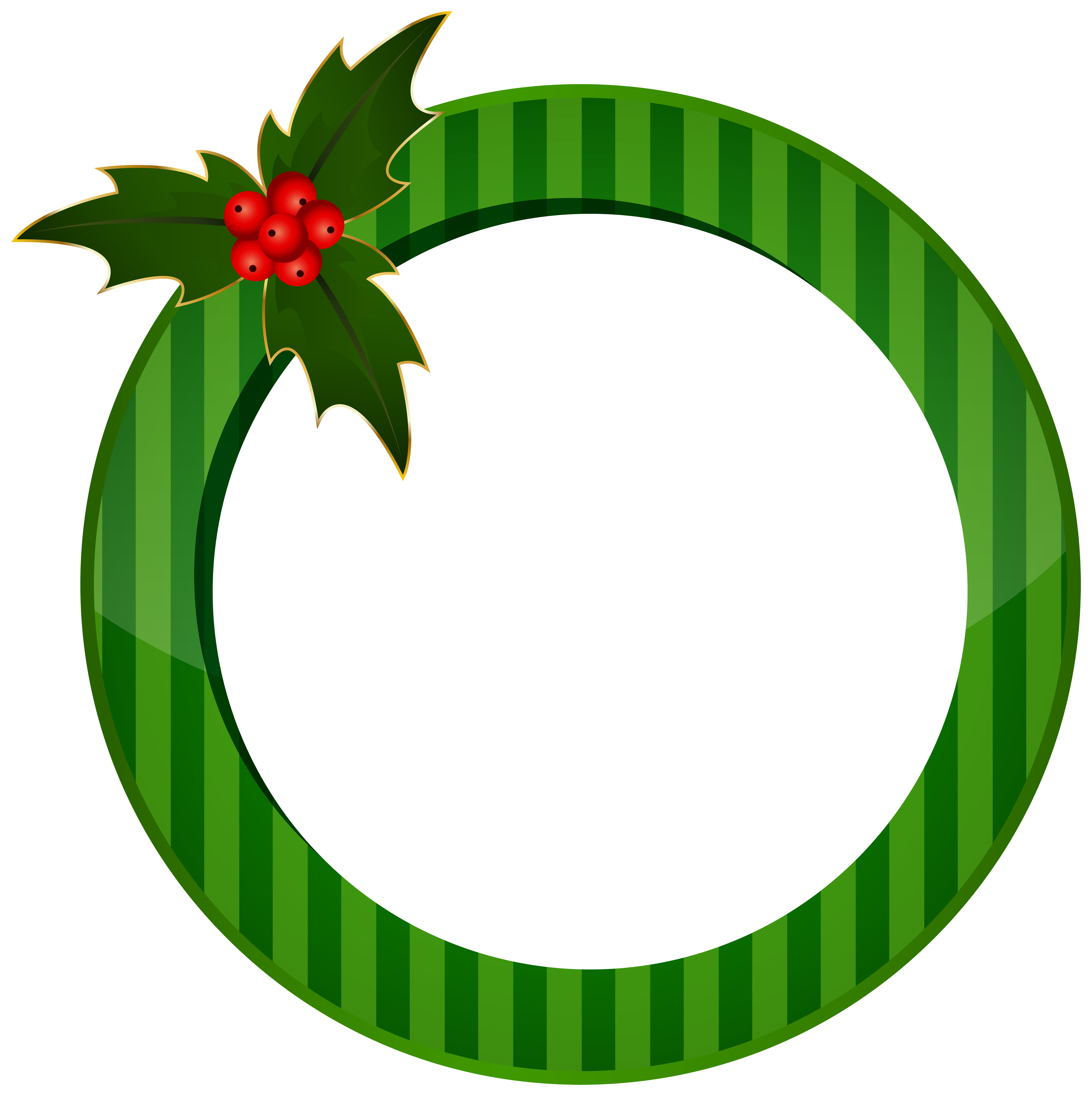 Transparent holly green. Christmas round frame image