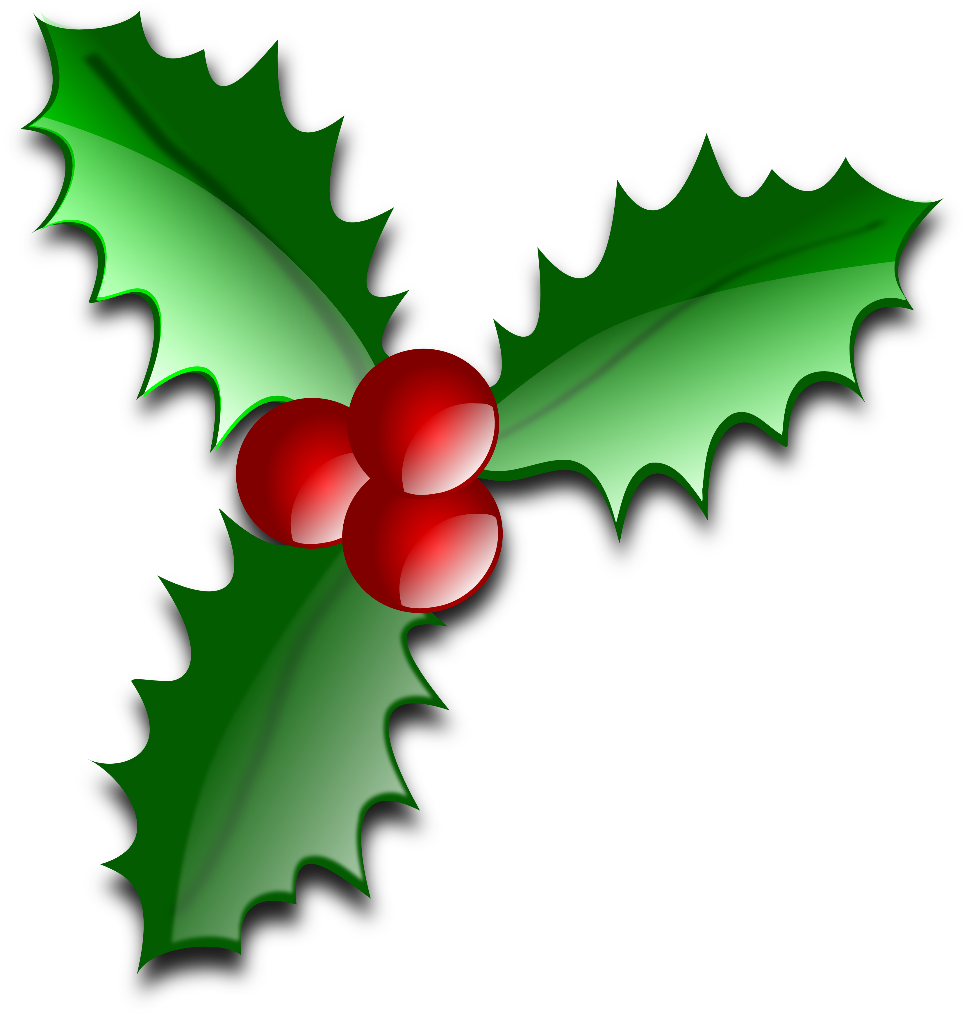 Transparent holly merry christmas. Collection of clipart