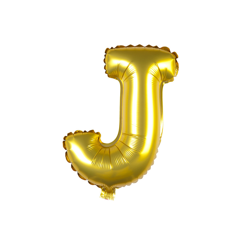 Transparent j balloon. Inflatable gold