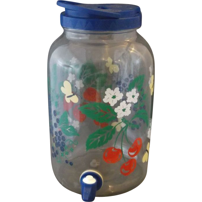 Transparent jar 1 gal. Fruit floral sun tea