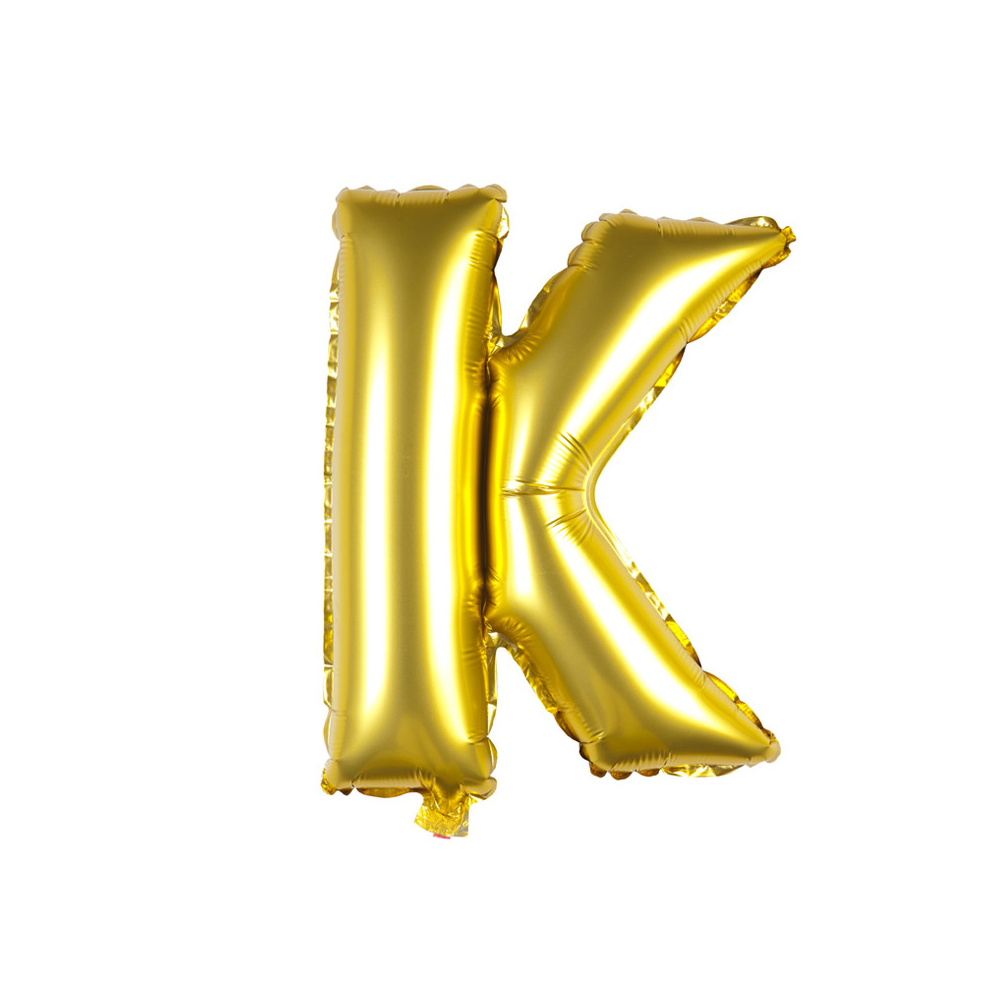 Transparent k balloon. Inflatable gold