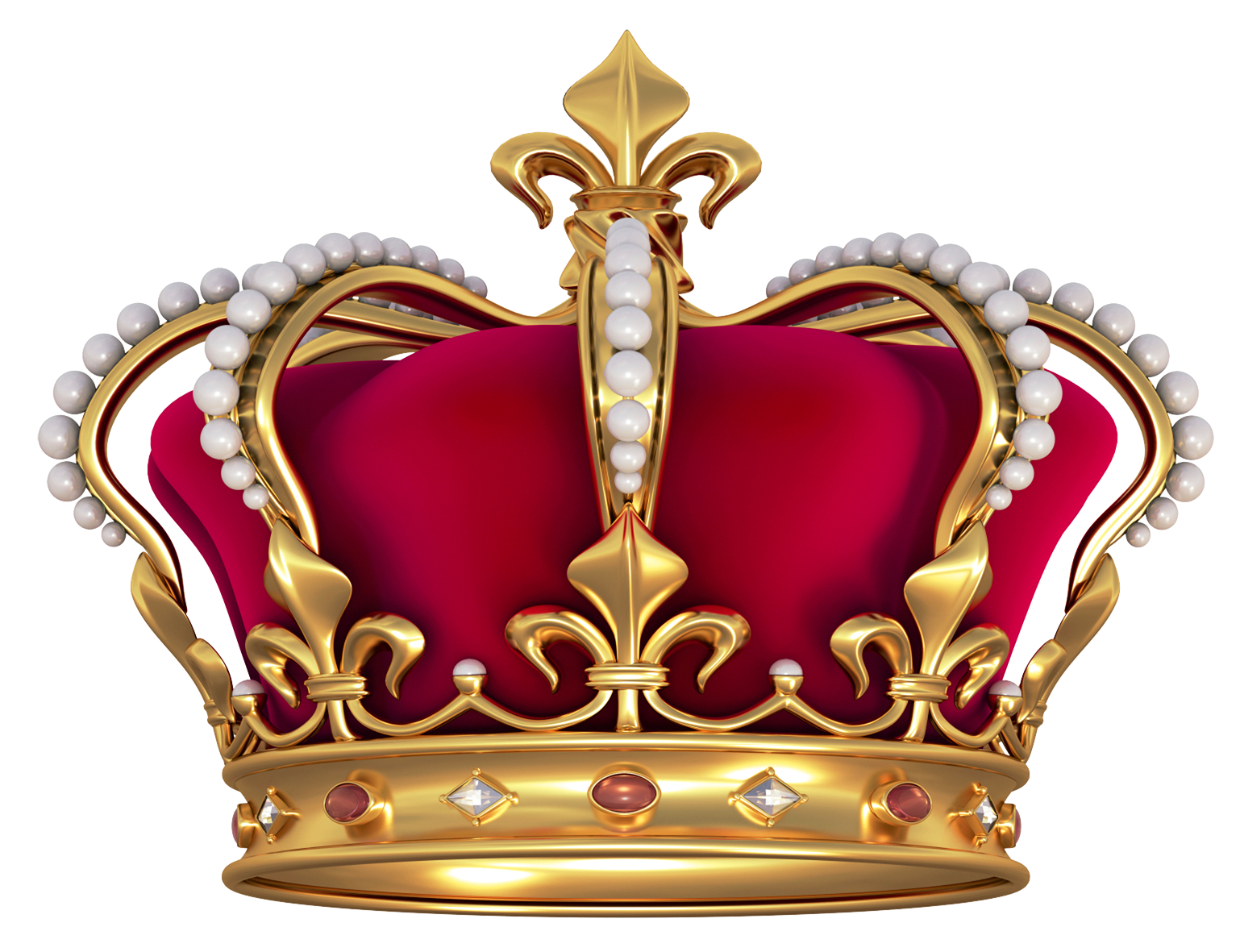 Transparent king crown png. Red gold with pearls