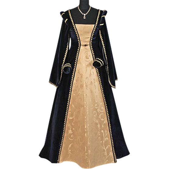 Transparent knight blue gold. Courtly renaissance dress and