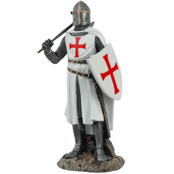 Transparent knight crusader. With axe and shield