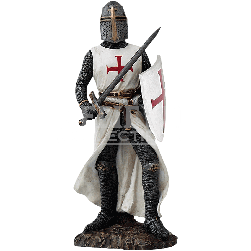 W transparent medieval. Crusader knight with sword