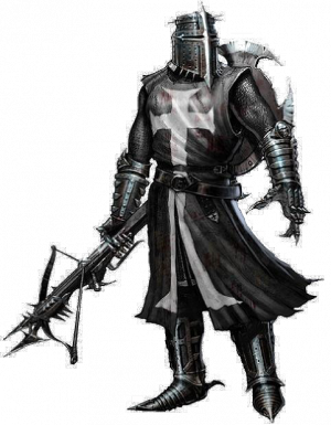 Transparent knight intimidating. The black e substitution