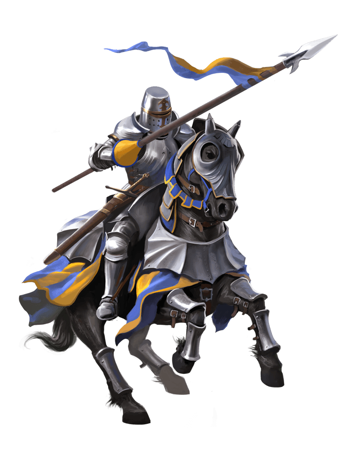 Transparent knight lancer. Tools for lords knights