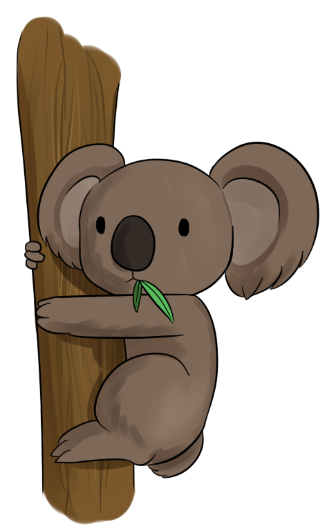 Transparent koala tree drawing. Collection of clipart
