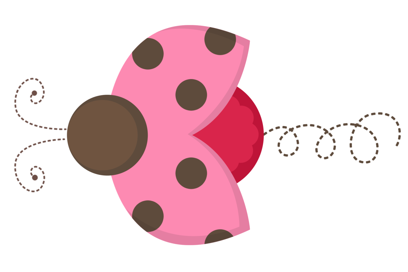 Transparent ladybug pink. And brown clipart