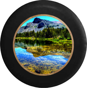 Transparent lake clear water. Tire cover pro shallow