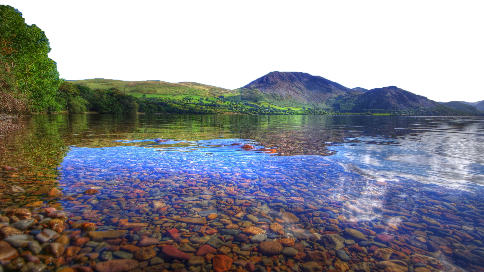 Transparent lake clear water. Natural landscape photography nature