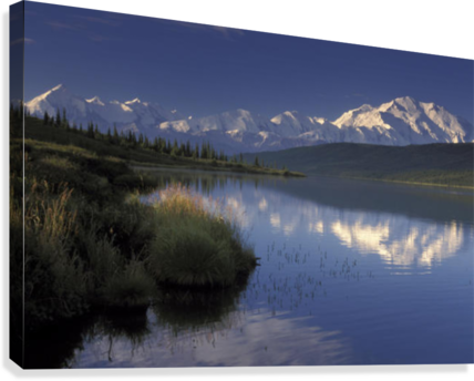 Transparent lake summer. Mt mckinley reflects in