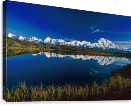 Transparent lake summer. Mt mckinley relfected in
