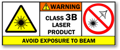 Transparent laser caution. Safety of class b