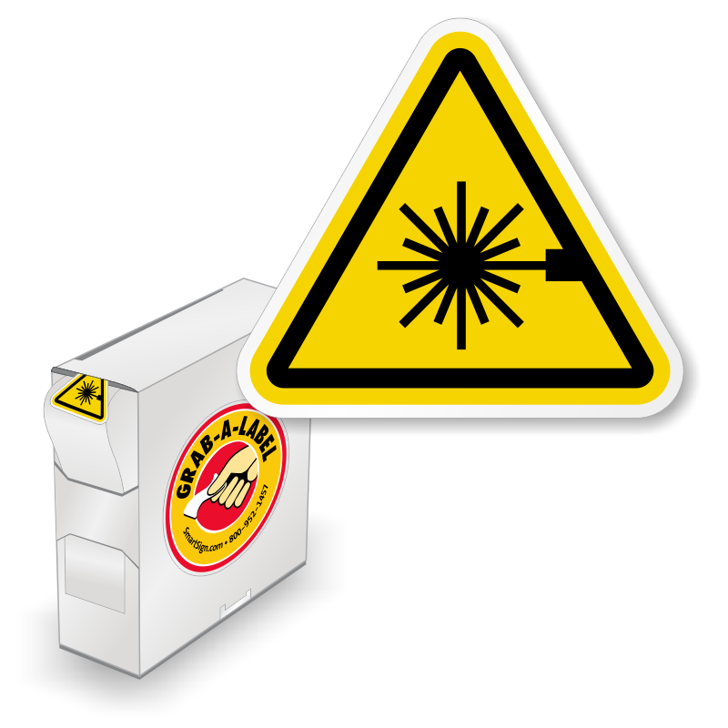 Transparent laser caution. Warning labels and