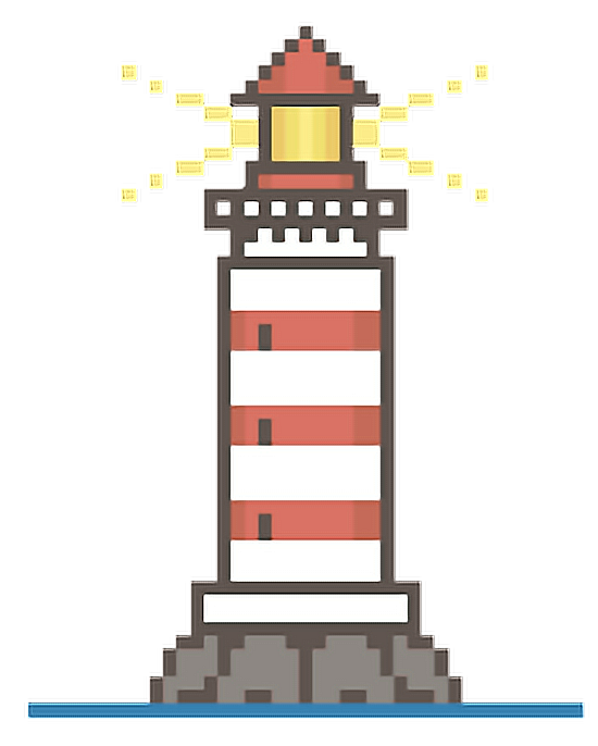 Transparent lighthouse pixel art. Pixelart pixels bit light