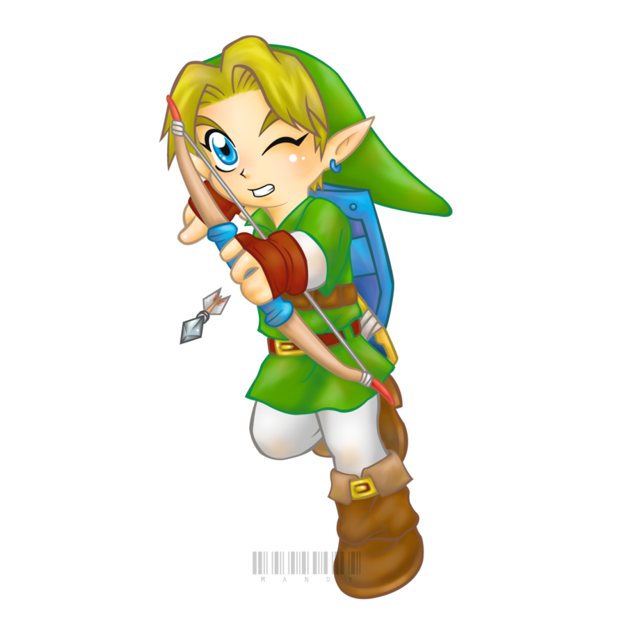 Transparent link bow arrow. Chibi with and by