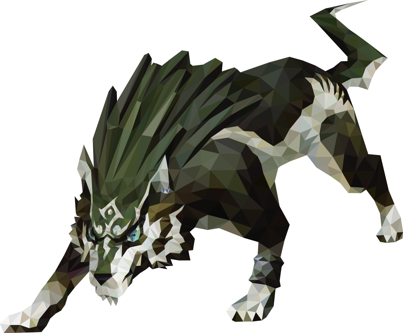 Transparent link wolf. Image polygon art by