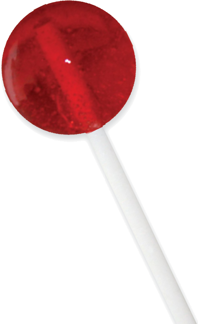 Transparent lollipop red. Holds bags count acetate