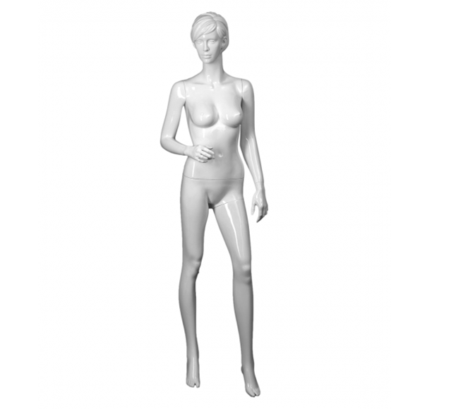 Transparent mannequin female white. Realistic mannequins glossy right