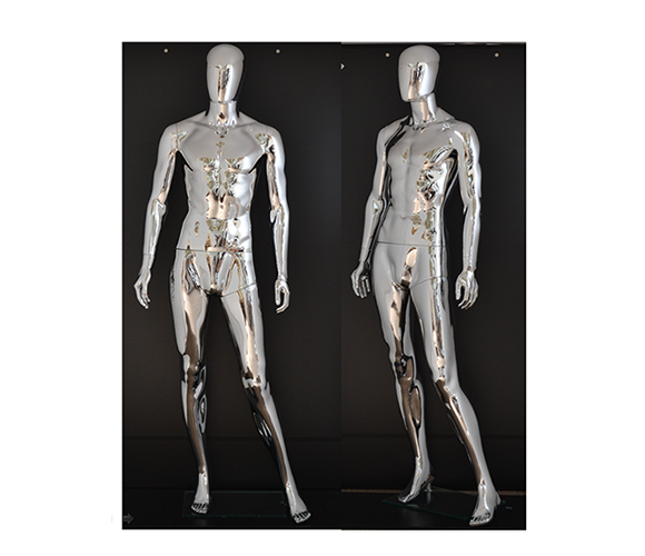 Transparent mannequins lucite. Unbreakable plastic chrome male