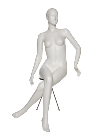 Transparent mannequins. Sitting female mannequin