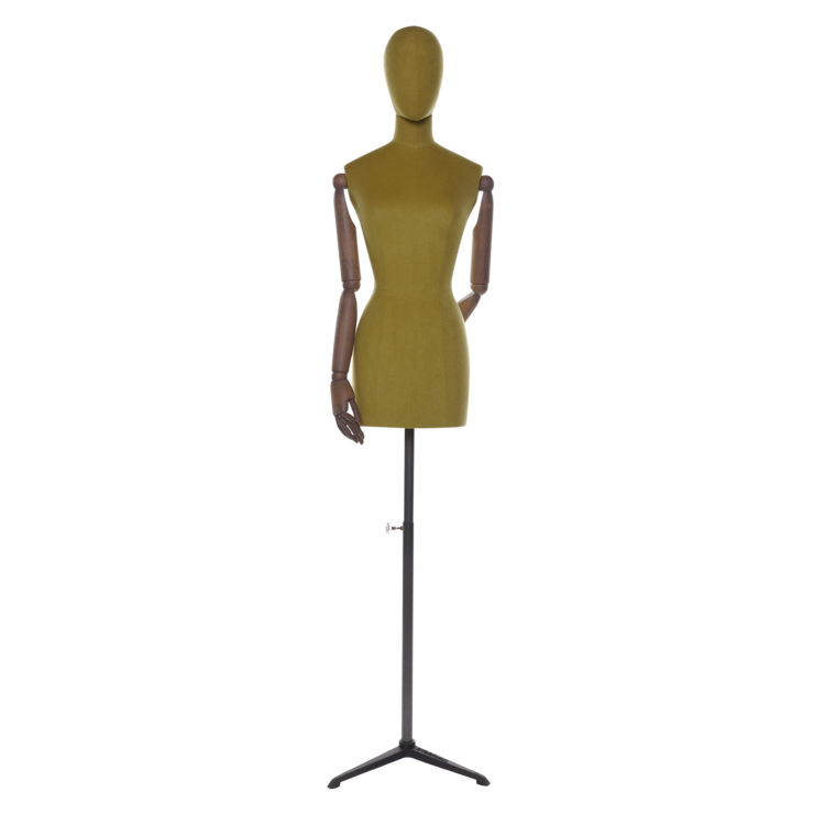 Transparent mannequins art wooden. Women green linen arms