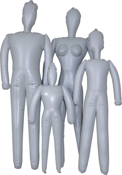 Transparent mannequins inflatable. Family psd official psds