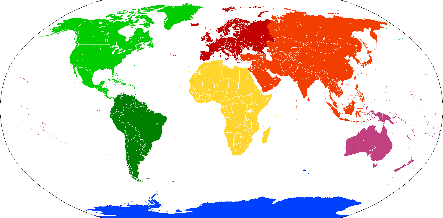 Transparent maps continent. Template world map indicating