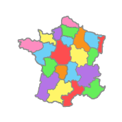 Transparent maps pastel. Rainbow map france by
