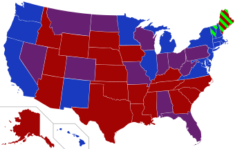 Transparent maps solid color. Red states and blue