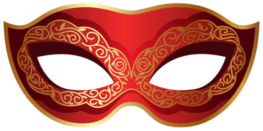 Carnival transparent red. Download and gold mask