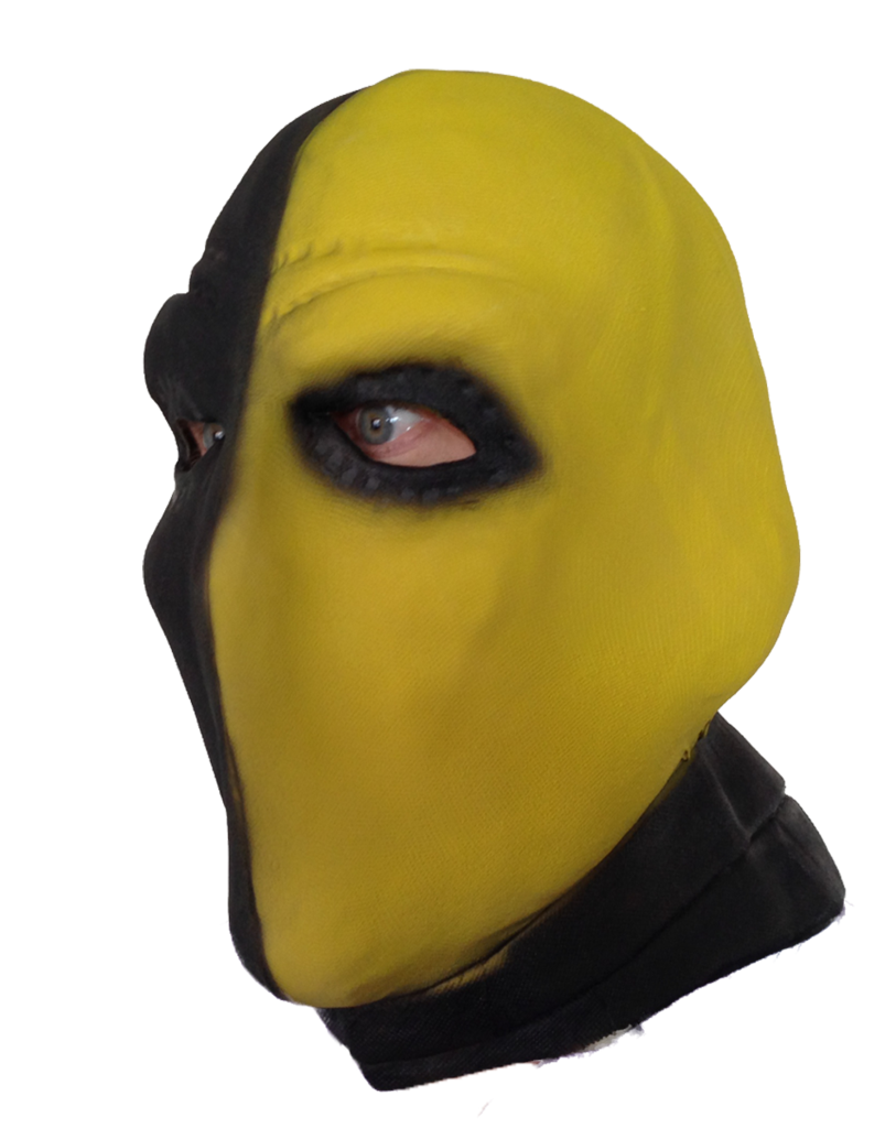Transparent masks deathstroke. Yellow mask rubber johnnies