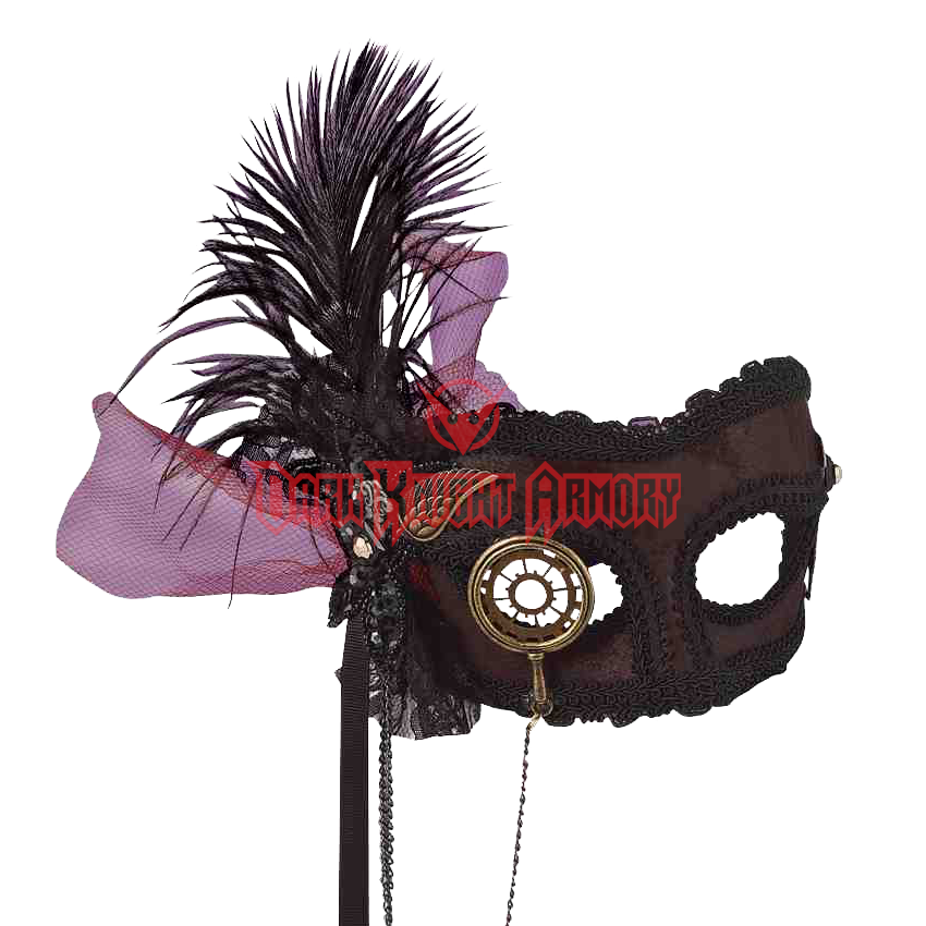Transparent masks feather. Venetian steampunk mask fm