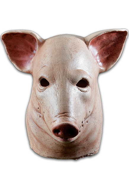 Transparent masks pig. Blood head halloween mask