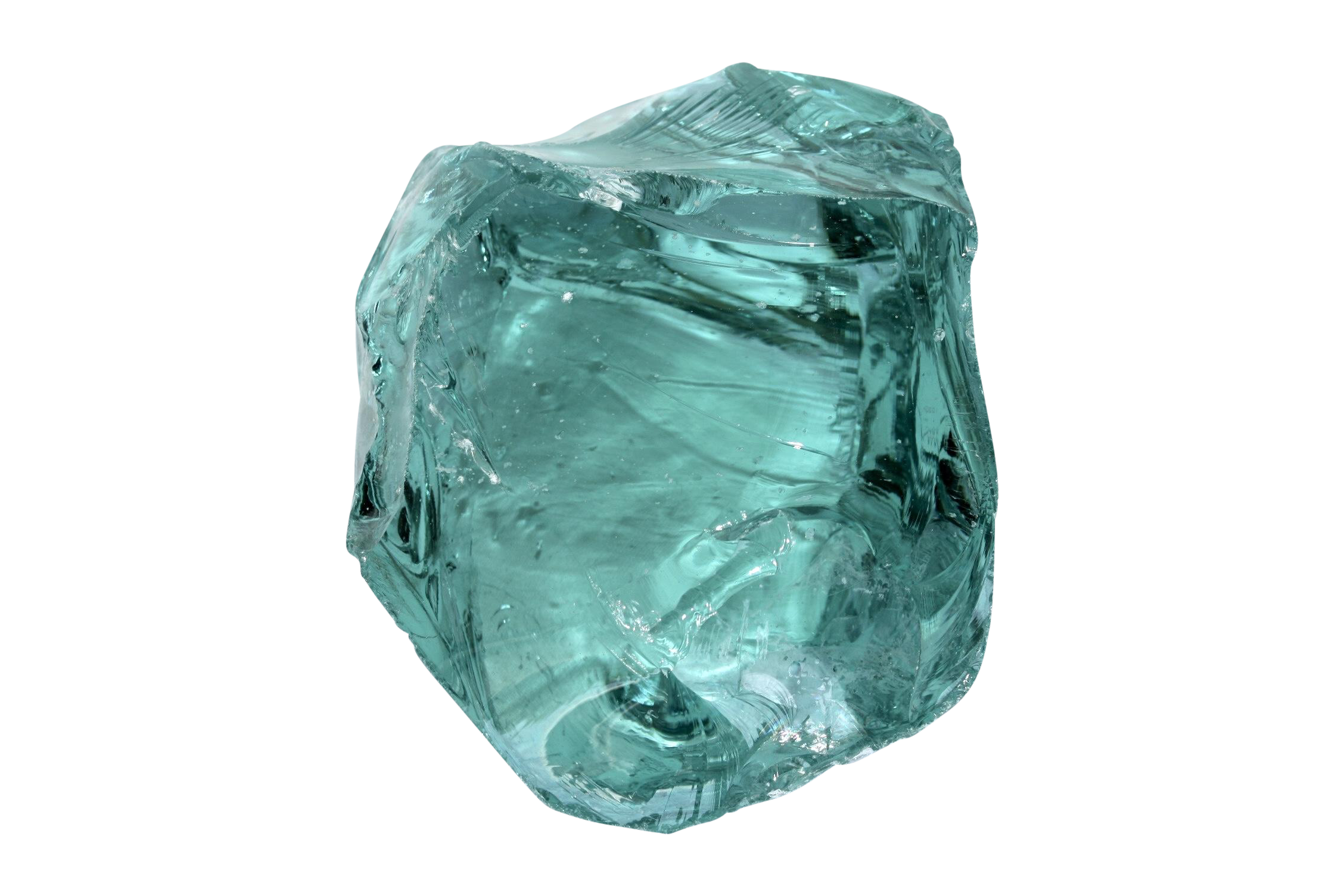 Transparent mineral blue green. Salvaged glass fragment and
