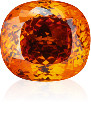 Transparent minerals garnet. Orange coloured mandarin antique