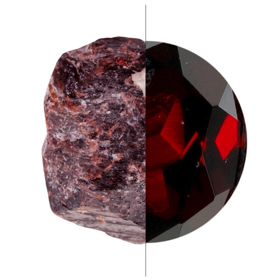 Transparent minerals garnet. Gem guide