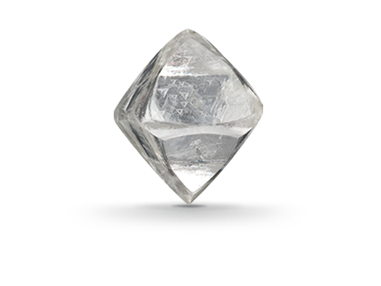 Transparent mineral white. Diamond forms under high