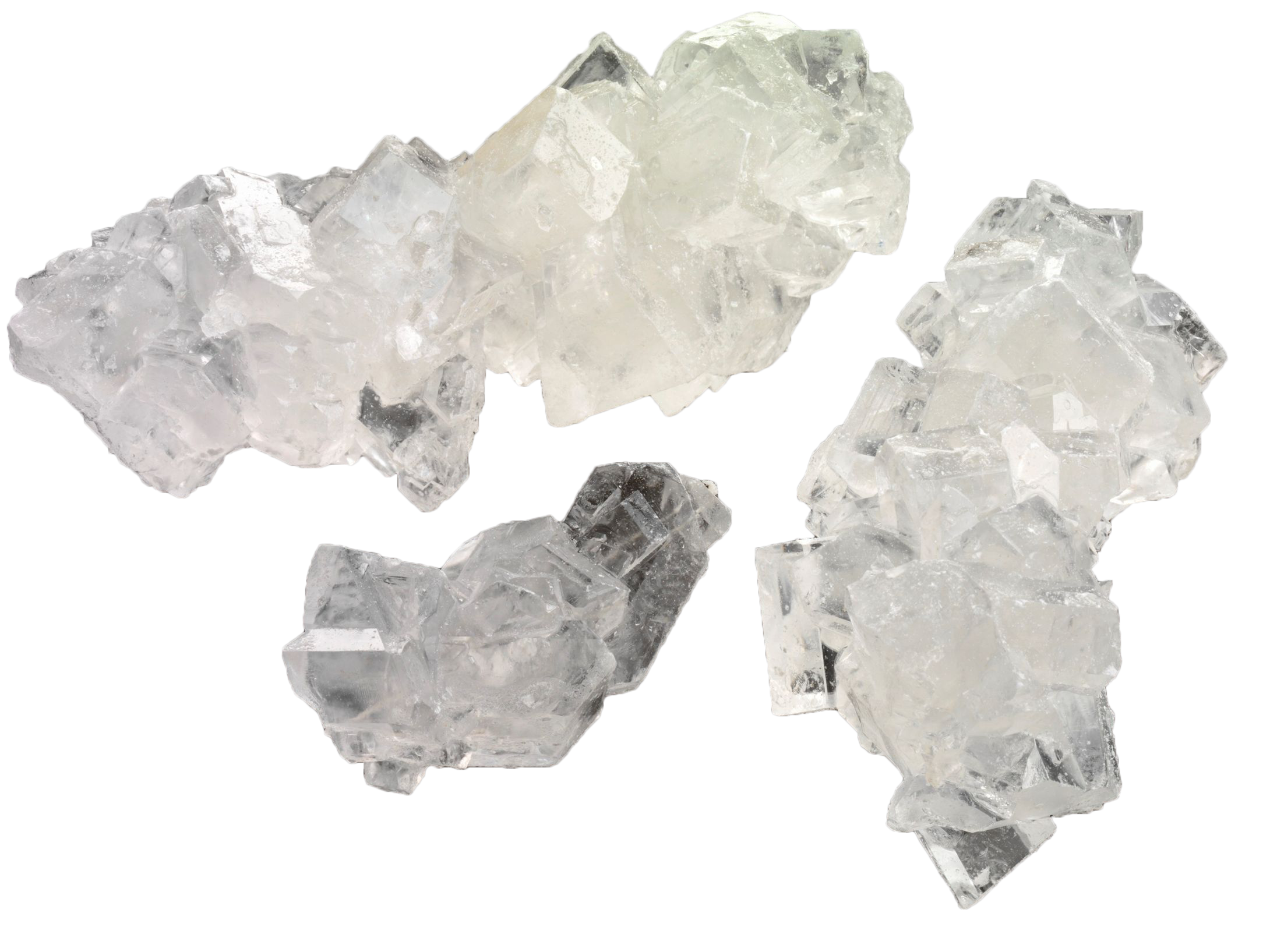Rock candy crystal sugar. Transparent mineral image black and white
