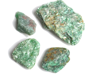 Transparent minerals green. Gem mineral identification treasure